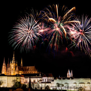 View of New Year Fireworks over Prague Castle